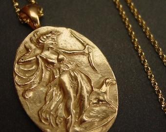 Artemis Necklace - Goddess Diana The Huntress - Antique Cameo - Cameo Jewelry - Artemis Jewelry - Artemis Pendant