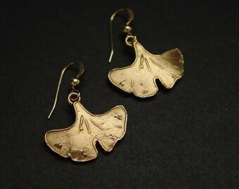 Small Ginkgo Leaf Earrings - Gingko Earrings - Ginkgo Biloba - Art Nouveau Earrings - Botanical Earrings - Leaf Earrings