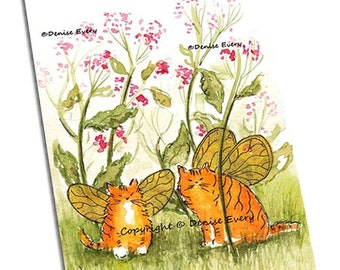 Cat Art Print Tiny Tiger Kitty Fairies Fantasy Cat Art Marmalade Cat Ginger ACEO Cat Lover Cat Gift Cat ACEO Artwork by Denise Every