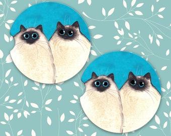 Silly Himalayan Kitties, Himalayan Cats, Sandstone Car Coasters, Set of 2 Car Coasters, Cat Coasters, Cat Car Coasters, Himalayan Coasters