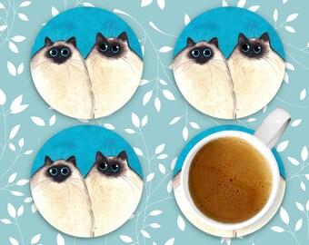 Silly Himalayan Kitties, Himalayan Cat Coasters, Set of 4 Sandstone Coasters, Cat Coasters, Drink Coaster Set, Beverage Coasters