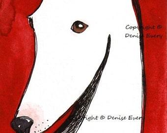 White Greyhound Sighthound Abstract Dog Art ACEO Print ATC Art Deco Style