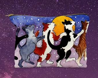 Cats Dancing Accessory Pouch, Cat Pouch, Cosmetic Bag, Makeup Pouch, Art Supplies Pouch, Pencil Pouch, Cats
