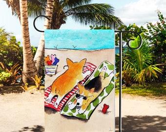 Beach Corgi Yard Flags, Corgi Flag, Welsh Corgi Garden Flag, Yard Flag, Corgi Art, Beach Corgis Flag