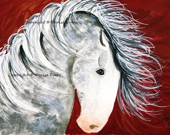 Dappled Gray Spanish Mustang Stallion Wild Horse Art ACEO ATC Print American Western Equine