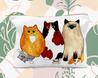 Kitties Behaving Badly, Cat Accessory Pouch, Cat Pouch, Cat Pencil Bag, Cosmetic Bag, Art Supplies Pouch