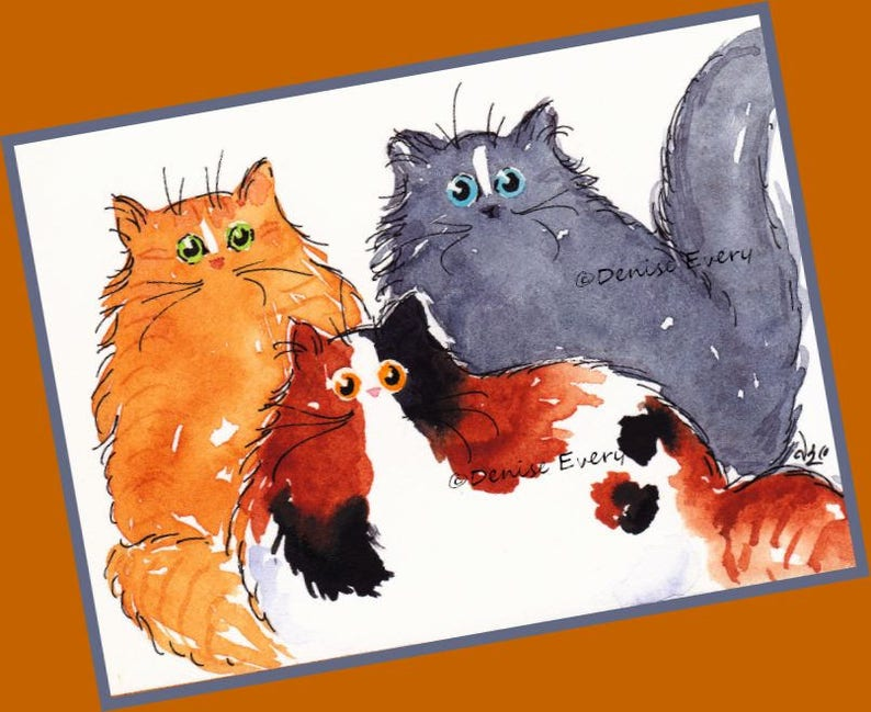Three Maine Coon Kitties Maine Coon Cat Art Print Cat ACEO Art Maine Coon  Cat Lover Maine Coon Cat Gift Calico rRed Tabby Smokey Blue