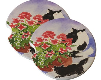 Maine Coon Kitties Mama and Kitten with Geraniums Natural Sandstone Drink Coaster Sets Home Decor Car Cat Art Cat Lover Maine Coon Cat Gift