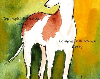 Red Spotted Standing Greyhound Sighthound Abstract Dog Art ACEO Print ATC