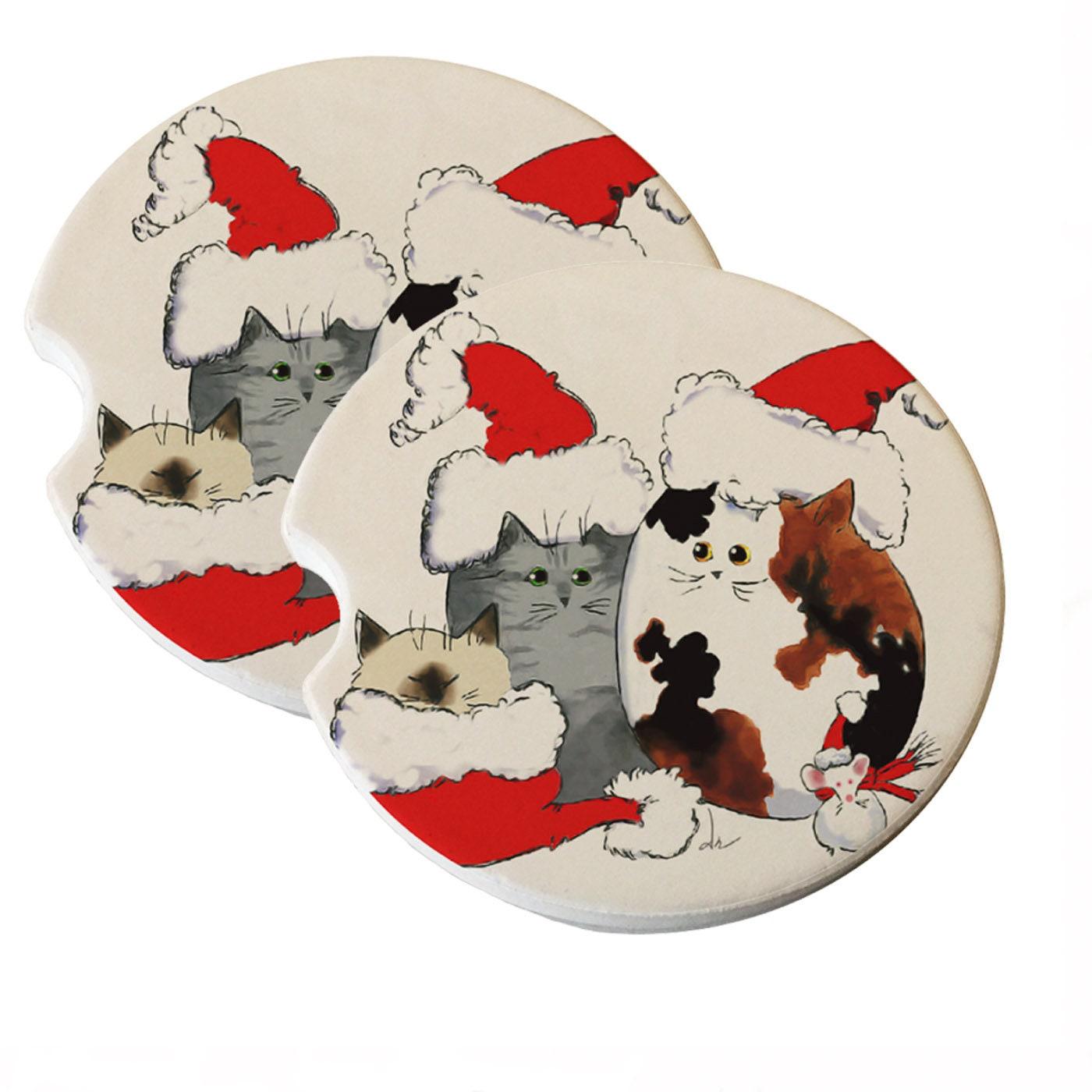Three Christmas Kitties and Mouse in Santa Hats Natural | Etsy