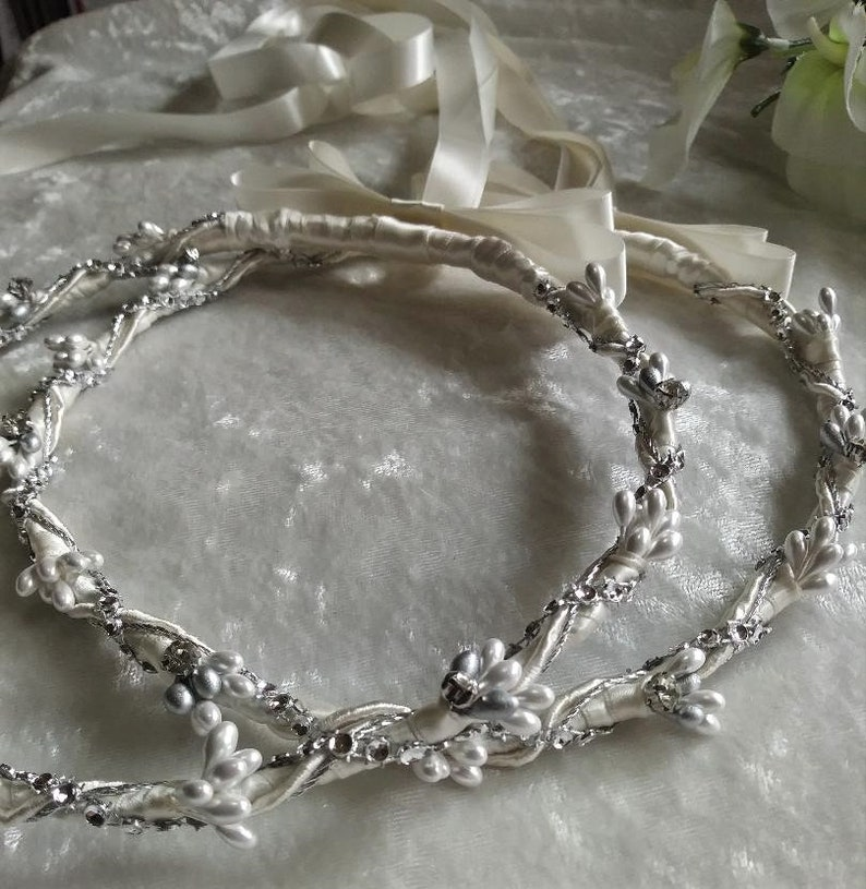 Greek Stefana Pearl Greek Wedding Crowns Greek Orthodox Ivory Stefana Rhinstone Orthodox Wedding Crowns Stefana Silver Stefana