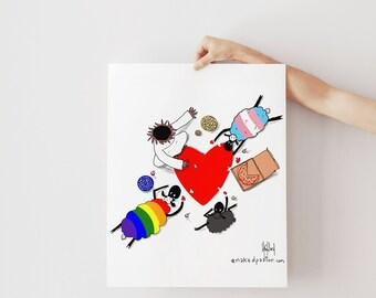 Trans Christian Family | Trans Art |  Affirming Christian | Trans Nonbinary Art | Queer Family Art | LGBTQ Wall Art | Inclusive Art