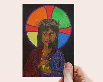 Genderqueer Art | Non-binary Greeting Card | Trans Christian Note Card | LGBTQ+ | Transgender | Spiritual Art |