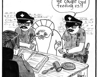God Arrested for Feeding the Poor CARTOON