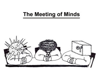 the meeting of minds CARTOON PRINT