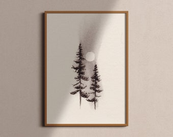 Charcoal Wall Art | Charcoal Artwork | Large Charcoal Print | Forest Art Print | Black and White Art | Painting Prints For The Home |