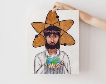 Christianity Science, Spirituality Art, Affirming Church, Progressive Christian, Christ Art, Jesus Christ Print, Jesus Print.