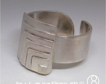 Adjustable Sterling silver ring Layers Top