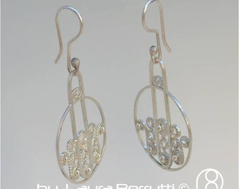 Contemporary Filigree Silver Earrings