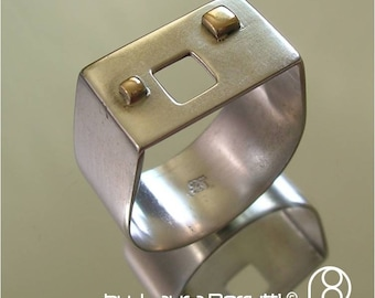 Square Sterling Silver Ring w/ Square Window and 14K Squares on the top