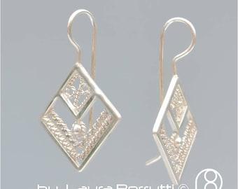 Square Filigree Silver Earrings