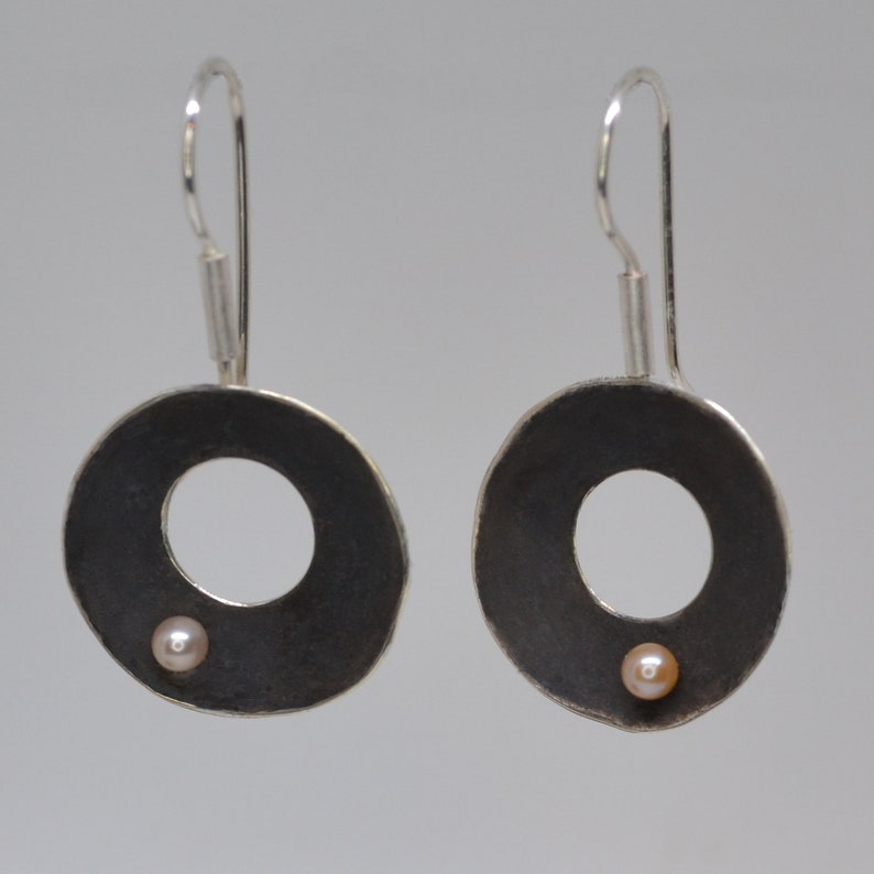 Sterling silver earrings with pearl image 1