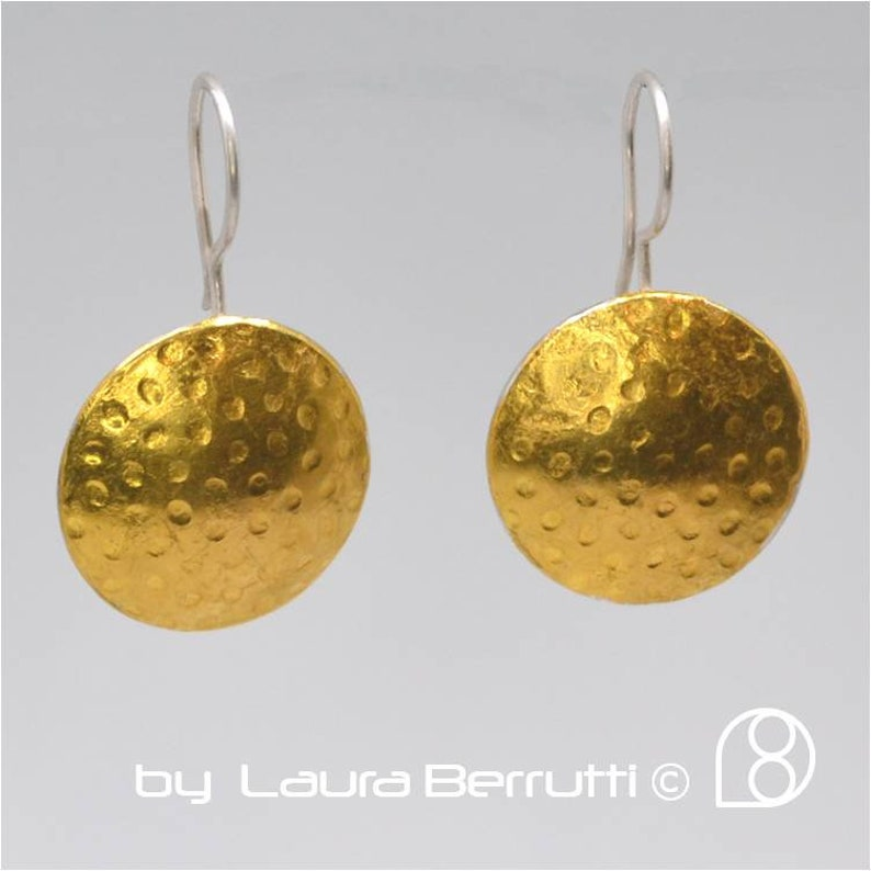 Steling Silver and 24k gold disk earring  Keum Boo image 1