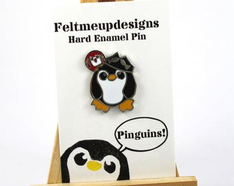 Pirate Penguin Pin, Enamel Penguin Pin, Penguin Badge, Cute Pin, Lapel Pin, Pirate Pin