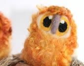 Owl Baby, Beige and Orange Bird, Needle Felted Owl, OOAK Owl Baby in Hand Dyed Wensleydale Wool