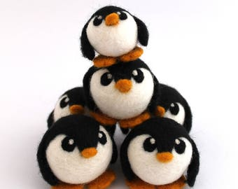 Needle Felted Penguin Medium Penguin Ornament