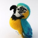 Needle Felted Parrot Blue and Gold Macaw Needle Felted Bird