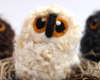 White Baby Owl, Felt Bird, Natural White Needle Felted Owl Baby Owlet