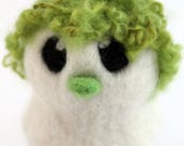 SALE Green Hairy Bird Needle Felted White One of A Kind Bird Mossy
