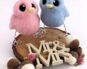 Mini Birds Wedding Cake Topper His 'n' Hers Needle Felted Birds