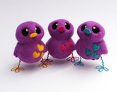 Needle Felted Bird in Purple and Turquoise or Chose Your Colours