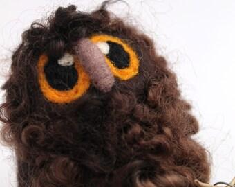 Brown Owl Baby Needle Felted Bird, Felt Owl, Felt Bird Ornament