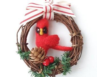 Needle Felted Cardinal Wreath Christmas Tree Decoration