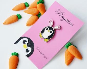 Glitter Pengbunny Pin, Penguin Pin, Enamel Penguin Pin, Penguin Badge, Cute Pin, Lapel Pin