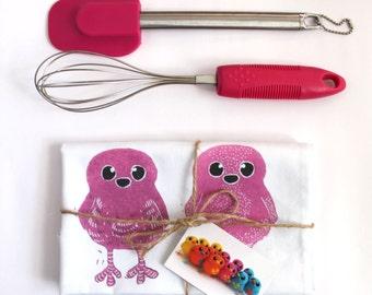 Rainbow Tea Towel Rainbow Doodle Birds Dish Cloth