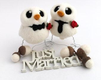 Gay Wedding Cake Topper Needle Felted Bird Ornament