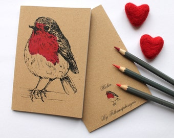 A6 Robin Notebook A6 Plain Kraft Notebook With Blank pages