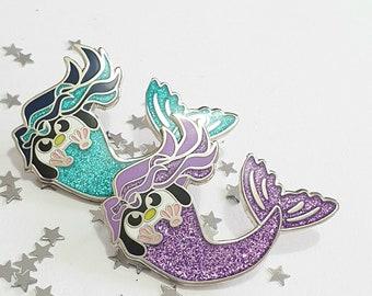 Mermaid Penguin Pin, Enamel Penguin Pin, Penguin Badge, Cute Pin, Lapel Pin, Glitter pin