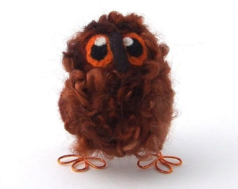Owl Baby, Felt Bird, Needle Felted Bird Cute and Fluffy Owl in Chestnut Brown Wensleydale