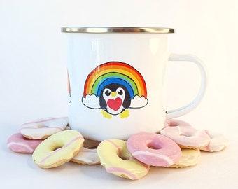 Rainbow Penguin Enamel Mug