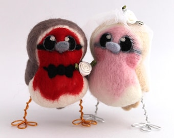Needle Felted Robin Bird Wedding Cake Topper