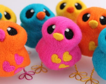 Pink Bird with Yellow Hearts Needle Felted Love Bird