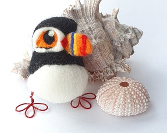 Needle Felted Puffin Bird Bempton the Puffin Decoration