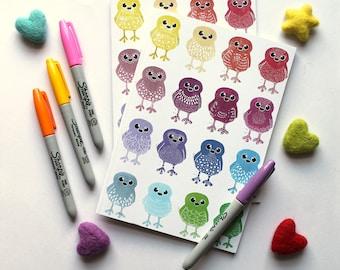 A5 Notebook, Rainbow Doodle Bird Notebook, Plain Notebook Lined Notebook