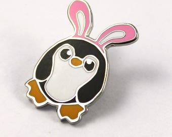 Pengbunny Pin, Penguin Pin, Enamel Penguin Pin, Penguin Badge, Cute Pin, Lapel Pin