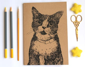 A5 Inky Cat Notebook A5 Plain Kraft Notebook with Blank Paper